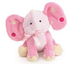 pink elephant plush rattle polka ears