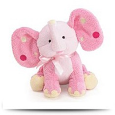 Pink Elephant Plush Rattle With Polka