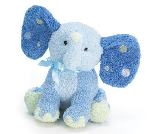 Blue Elephant Plush Rattle With Polka